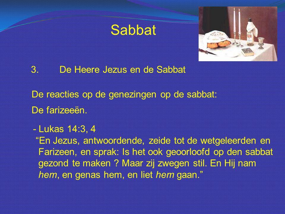 """Sabbat 3.De Heere Jezus en de Sabbat De reacties op de genezingen op de sabbat: De farizeeën. - Lukas 14:3, 4 """"En Jezus, antwoordende, zeide tot de we"""