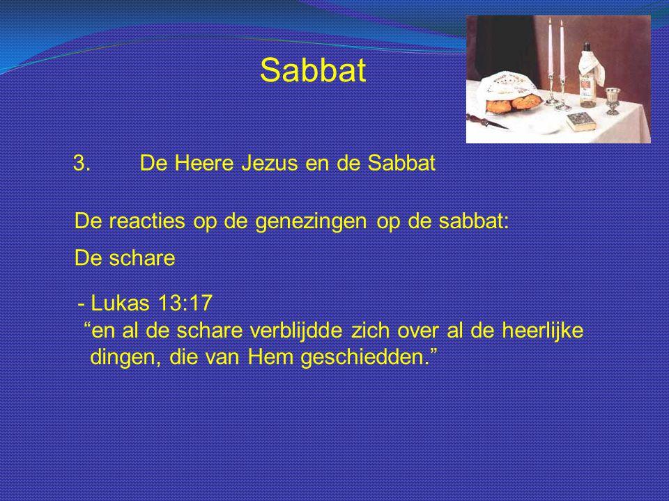 """Sabbat 3.De Heere Jezus en de Sabbat De reacties op de genezingen op de sabbat: De schare - Lukas 13:17 """"en al de schare verblijdde zich over al de he"""