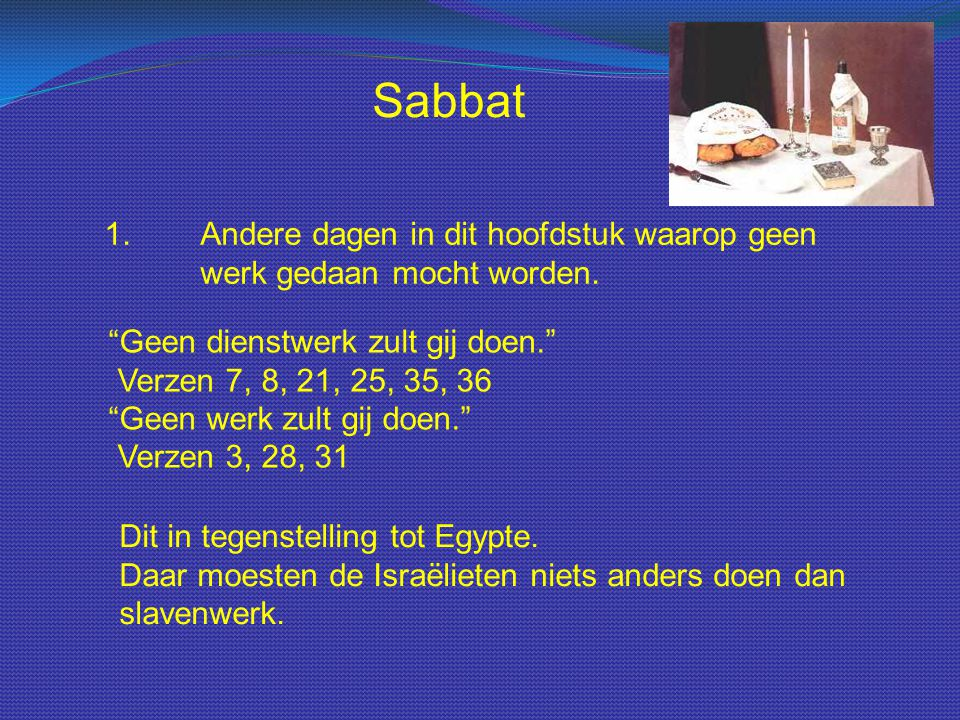 """Sabbat 1.Andere dagen in dit hoofdstuk waarop geen werk gedaan mocht worden. """"Geen dienstwerk zult gij doen."""" Verzen 7, 8, 21, 25, 35, 36 """"Geen werk z"""