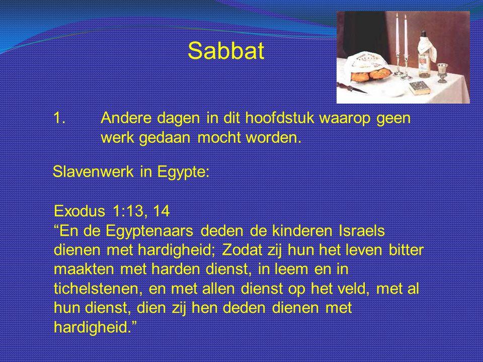"""Sabbat 1.Andere dagen in dit hoofdstuk waarop geen werk gedaan mocht worden. Slavenwerk in Egypte: Exodus 1:13, 14 """"En de Egyptenaars deden de kindere"""