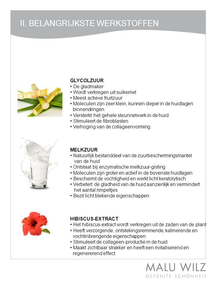 II. BELANGRIJKSTE WERKSTOFFEN II. Die neuen Wirkstoffe GLYCOLZUUR • De gladmaker • Wordt verkregen uit suikerriet • Meest actieve fruitzuur • Molecule