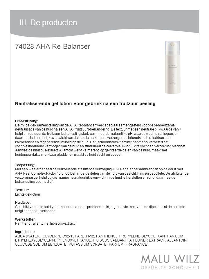 I. Die neuen Wirkstoffe 74028 AHA Re-Balancer Neutraliserende gel-lotion voor gebruik na een fruitzuur-peeling Omschrijving: De milde gel-samenstellin