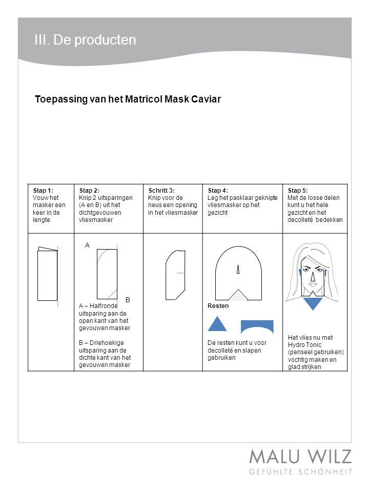 III. De producten Stap 1: Vouw het masker een keer in de lengte Stap 2: Knip 2 uitsparingen (A en B) uit het dichtgevouwen vliesmasker Schritt 3: Knip