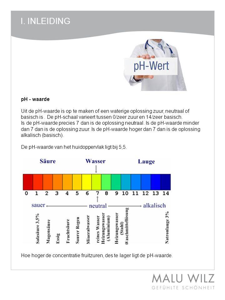 I. INLEIDING pH - waarde Uit de pH-waarde is op te maken of een waterige oplossing zuur, neutraal of basisch is. De pH-schaal varieert tussen 0/zeer z