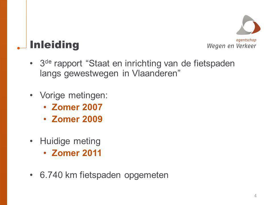 44 Inleiding •3 de rapport Staat en inrichting van de fietspaden langs gewestwegen in Vlaanderen •Vorige metingen: •Zomer 2007 •Zomer 2009 •Huidige meting •Zomer 2011 •6.740 km fietspaden opgemeten