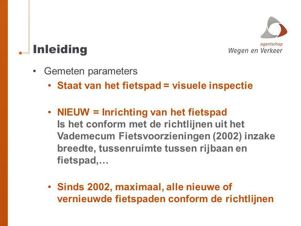 Inleiding •Gemeten parameters •Staat van het fietspad = visuele inspectie •NIEUW = Inrichting van het fietspad Is het conform met de richtlijnen uit het Vademecum Fietsvoorzieningen (2002) inzake breedte, tussenruimte tussen rijbaan en fietspad,… •Sinds 2002, maximaal, alle nieuwe of vernieuwde fietspaden conform de richtlijnen