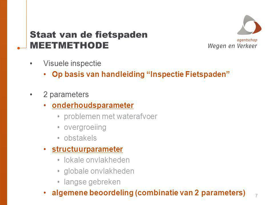 Staat van de fietspaden RESULTATEN ProvincieTotaal (km)Voldoende of beter Onvoldoende Antwerpen 1285,294,10%5,90% Limburg 132394,60%5,40% Oost-Vlaanderen 1608,489,40%10,60% Vlaams-Brabant 92585,70%14,30% West-Vlaanderen 159885,40%14,60% Totaal Vlaanderen 6739,5 89,90%10,10% (6055,9 km)(683,5 km)