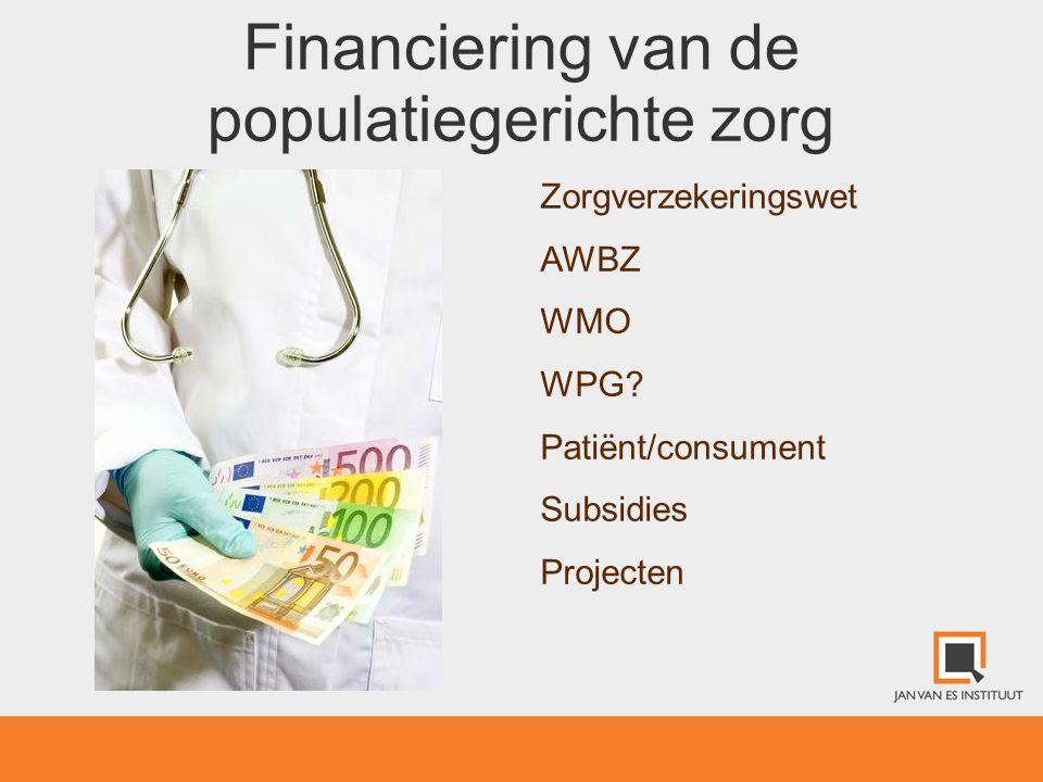 Financiering van de populatiegerichte zorg Zorgverzekeringswet AWBZ WMO WPG? Patiënt/consument Subsidies Projecten