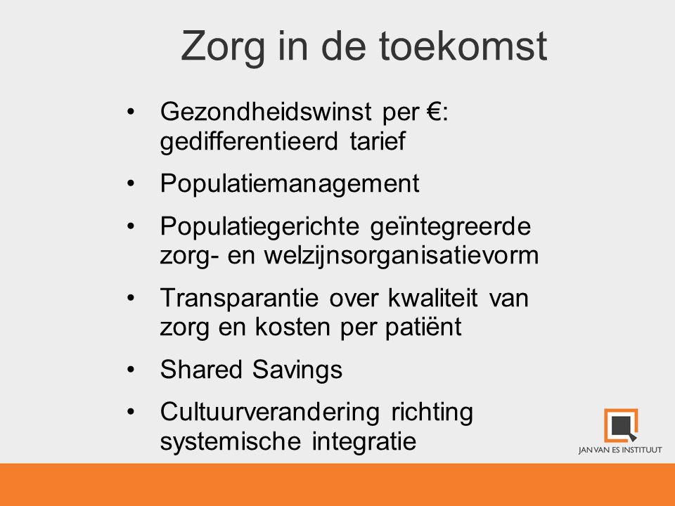 Zorg in de toekomst •Gezondheidswinst per €: gedifferentieerd tarief •Populatiemanagement •Populatiegerichte geïntegreerde zorg- en welzijnsorganisati