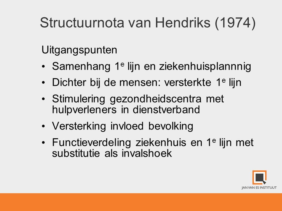Structuurnota van Hendriks (1974) Uitgangspunten • Samenhang 1 e lijn en ziekenhuisplannnig • Dichter bij de mensen: versterkte 1 e lijn • Stimulering
