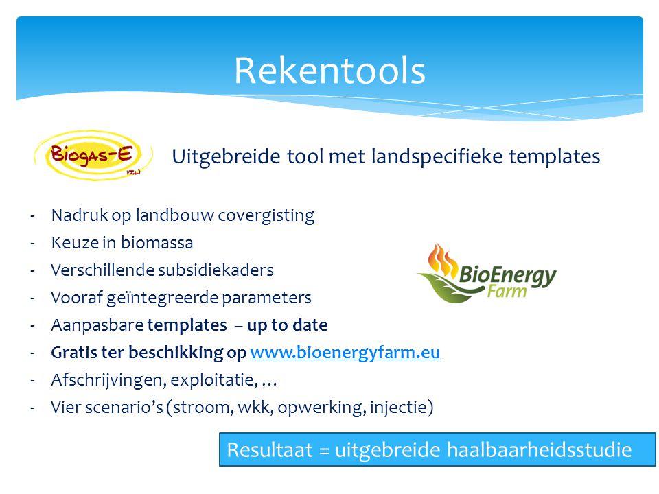 Rekentools Uitgebreide tool met landspecifieke templates -Nadruk op landbouw covergisting -Keuze in biomassa -Verschillende subsidiekaders -Vooraf geï