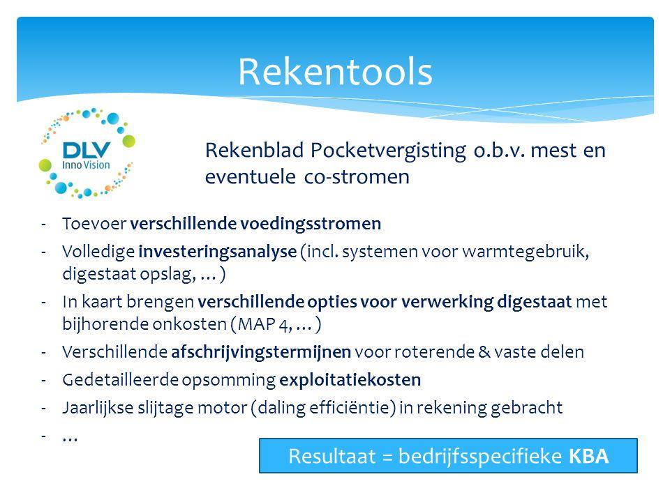 Rekentools Rekenblad Pocketvergisting o.b.v. mest en eventuele co-stromen -Toevoer verschillende voedingsstromen -Volledige investeringsanalyse (incl.