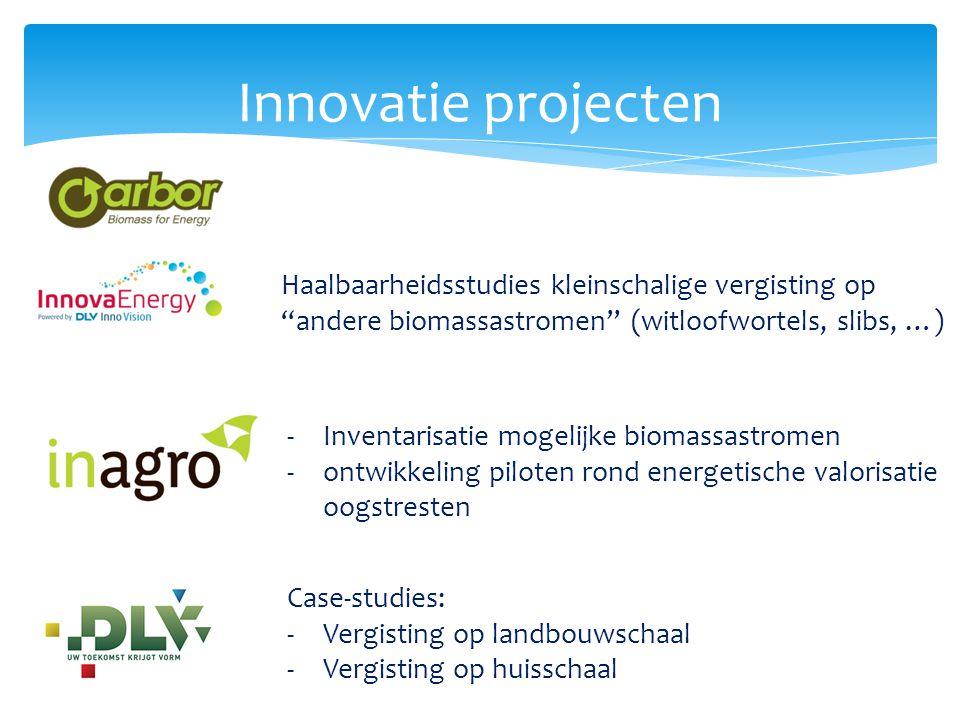 """Innovatie projecten Haalbaarheidsstudies kleinschalige vergisting op """"andere biomassastromen"""" (witloofwortels, slibs, …) Case-studies: -Vergisting op"""