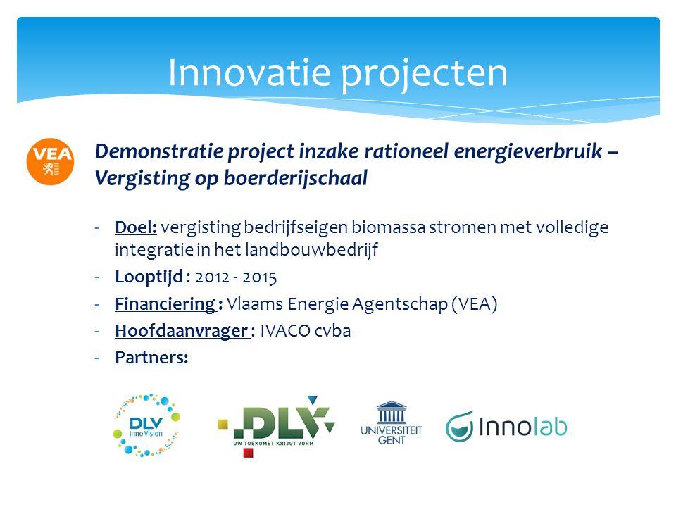 Innovatie projecten Demonstratie project inzake rationeel energieverbruik – Vergisting op boerderijschaal -Doel: vergisting bedrijfseigen biomassa str
