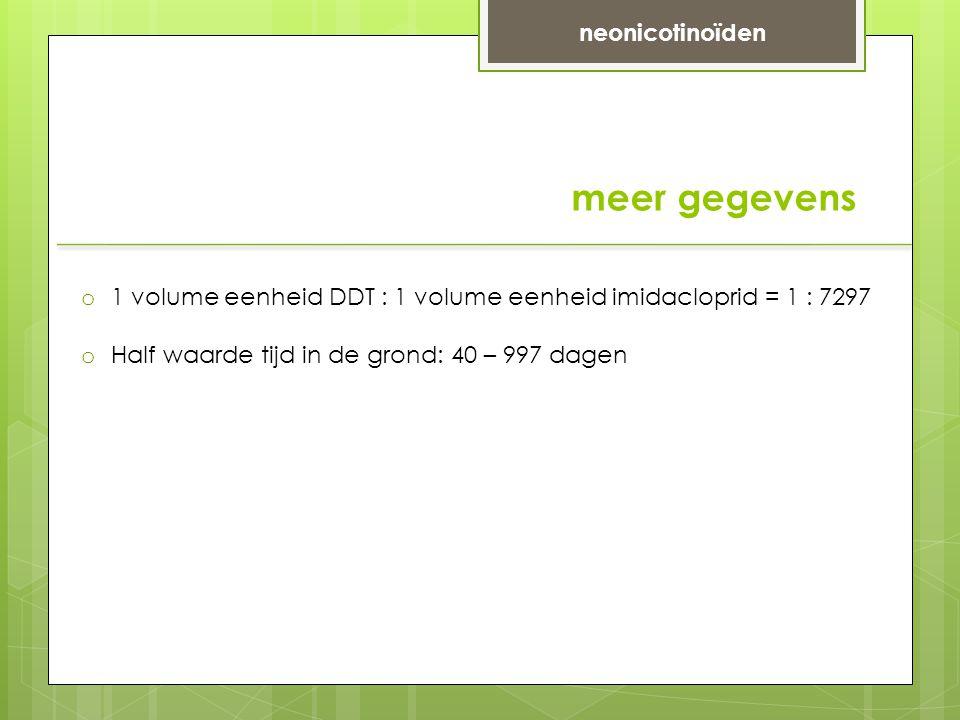 meer gegevens neonicotinoïden o 1 volume eenheid DDT : 1 volume eenheid imidacloprid = 1 : 7297 o Half waarde tijd in de grond: 40 – 997 dagen