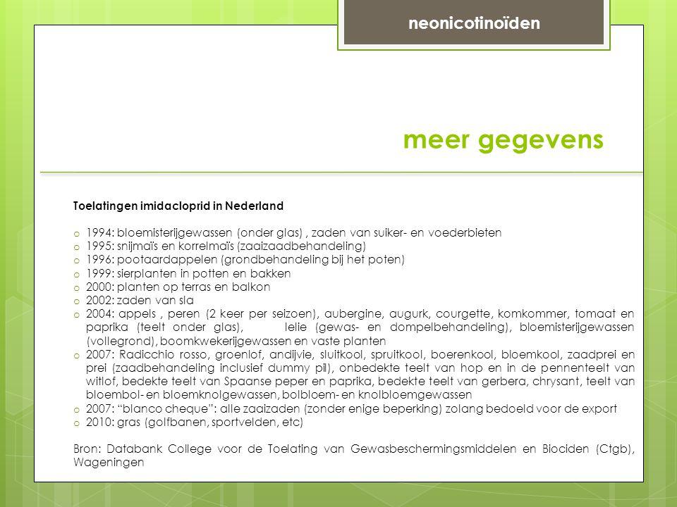 meer gegevens neonicotinoïden Toelatingen imidacloprid in Nederland o 1994: bloemisterijgewassen (onder glas), zaden van suiker- en voederbieten o 1995: snijmaïs en korrelmaïs (zaaizaadbehandeling) o 1996: pootaardappelen (grondbehandeling bij het poten) o 1999: sierplanten in potten en bakken o 2000: planten op terras en balkon o 2002: zaden van sla o 2004: appels, peren (2 keer per seizoen), aubergine, augurk, courgette, komkommer, tomaat en paprika (teelt onder glas), lelie (gewas- en dompelbehandeling), bloemisterijgewassen (vollegrond), boomkwekerijgewassen en vaste planten o 2007: Radicchio rosso, groenlof, andijvie, sluitkool, spruitkool, boerenkool, bloemkool, zaadprei en prei (zaadbehandeling inclusief dummy pil), onbedekte teelt van hop en in de pennenteelt van witlof, bedekte teelt van Spaanse peper en paprika, bedekte teelt van gerbera, chrysant, teelt van bloembol- en bloemknolgewassen, bolbloem- en knolbloemgewassen o 2007: blanco cheque : alle zaaizaden (zonder enige beperking) zolang bedoeld voor de export o 2010: gras (golfbanen, sportvelden, etc) Bron: Databank College voor de Toelating van Gewasbeschermingsmiddelen en Biociden (Ctgb), Wageningen