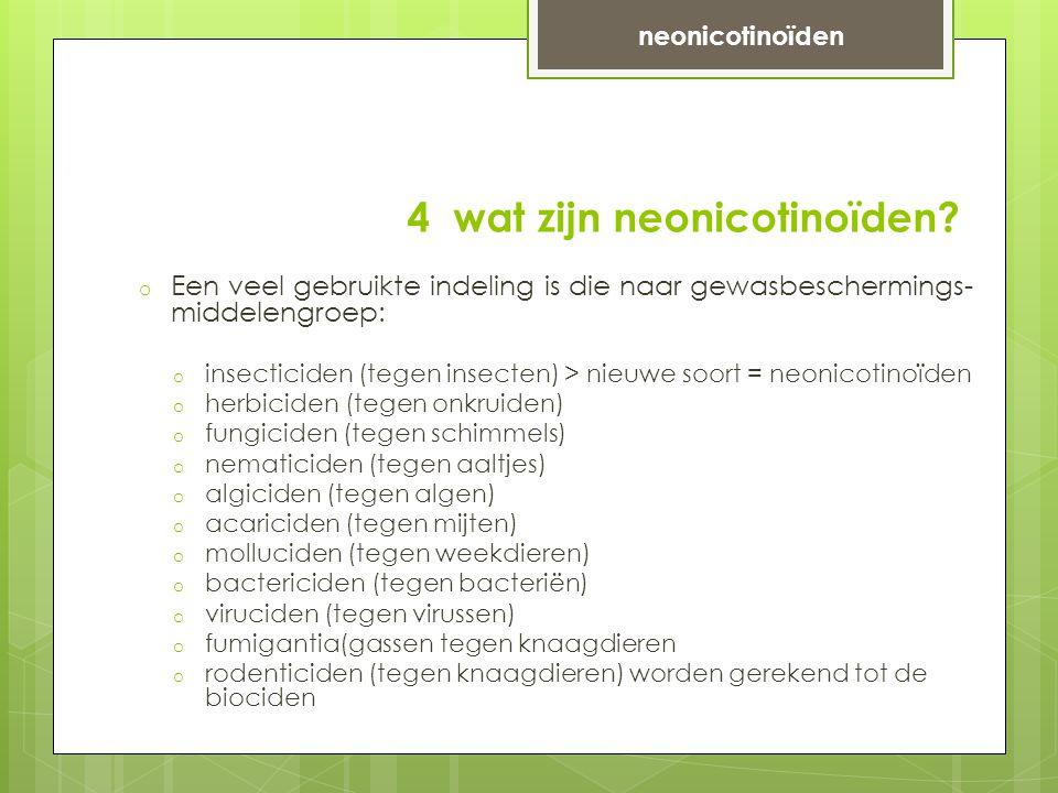 4 wat zijn neonicotinoïden.