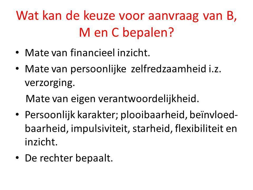 Wat kan de keuze voor aanvraag van B, M en C bepalen? • Mate van financieel inzicht. • Mate van persoonlijke zelfredzaamheid i.z. verzorging. Mate van
