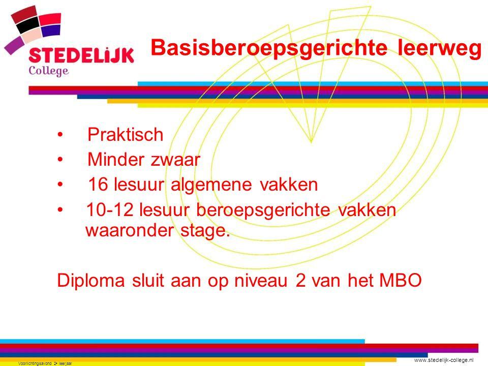 www.stedelijk-college.nl Voorlichtingsavond 2 e leerjaar •Praktisch •Minder zwaar •16 lesuur algemene vakken •10-12 lesuur beroepsgerichte vakken waar
