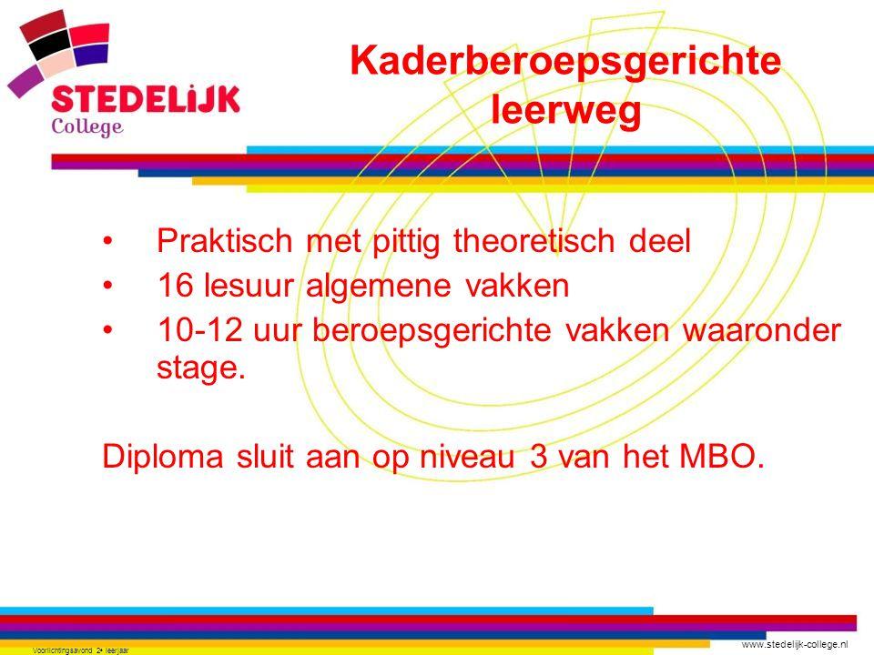 www.stedelijk-college.nl Voorlichtingsavond 2 e leerjaar •Praktisch met pittig theoretisch deel •16 lesuur algemene vakken •10-12 uur beroepsgerichte