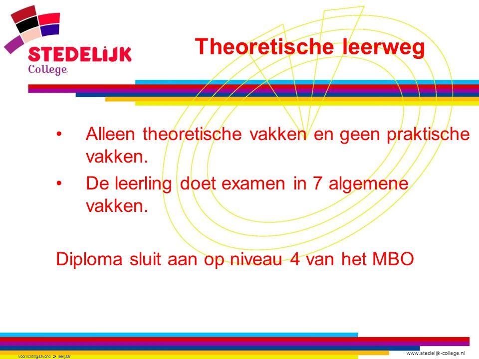 www.stedelijk-college.nl Voorlichtingsavond 2 e leerjaar •Alleen theoretische vakken en geen praktische vakken. •De leerling doet examen in 7 algemene