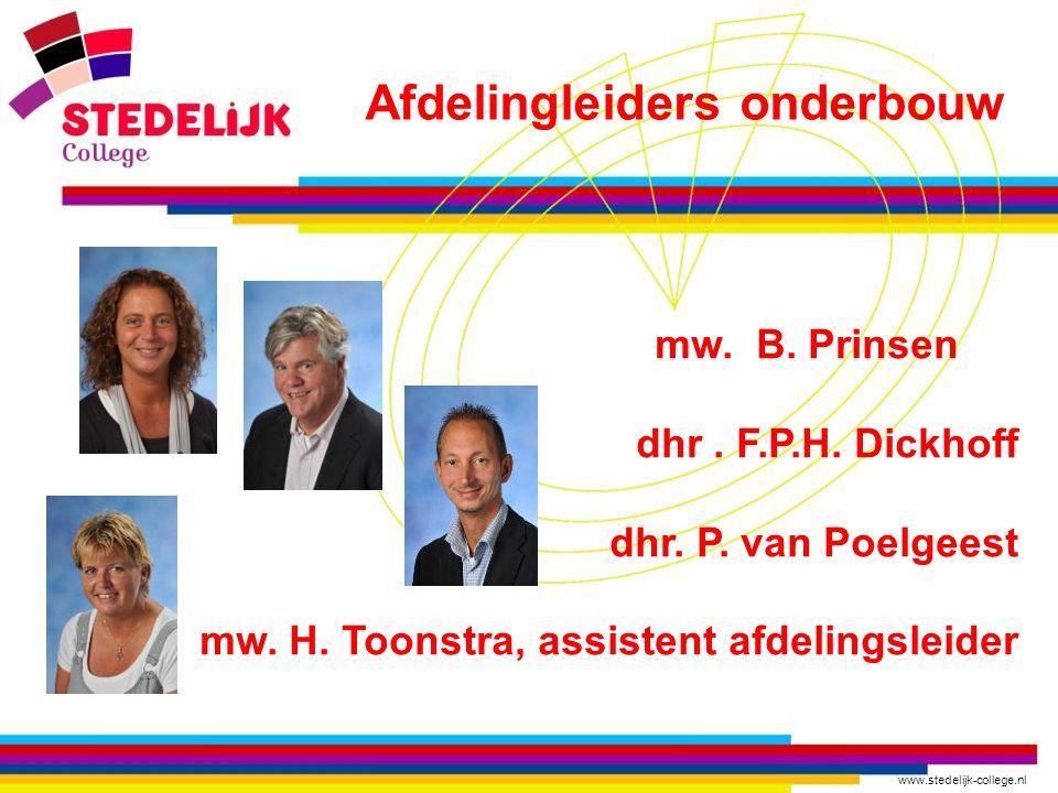 www.stedelijk-college.nl mw. B. Prinsen dhr. F.P.H. Dickhoff dhr. P. van Poelgeest mw. H. Toonstra, assistent afdelingsleider Afdelingleiders onderbou