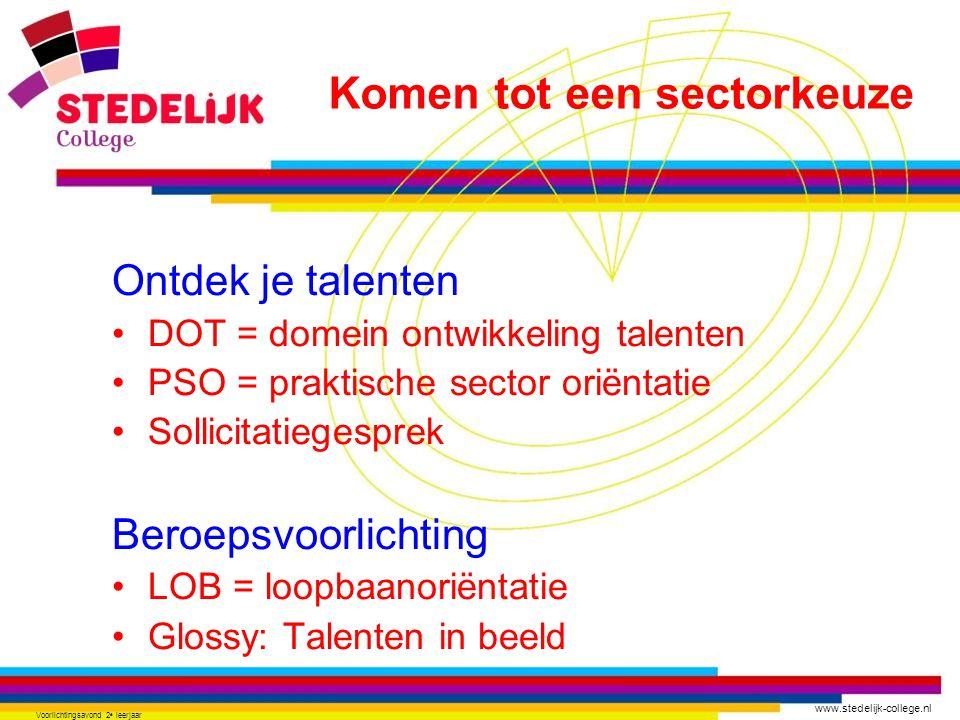 www.stedelijk-college.nl Voorlichtingsavond 2 e leerjaar Ontdek je talenten •DOT = domein ontwikkeling talenten •PSO = praktische sector oriëntatie •S