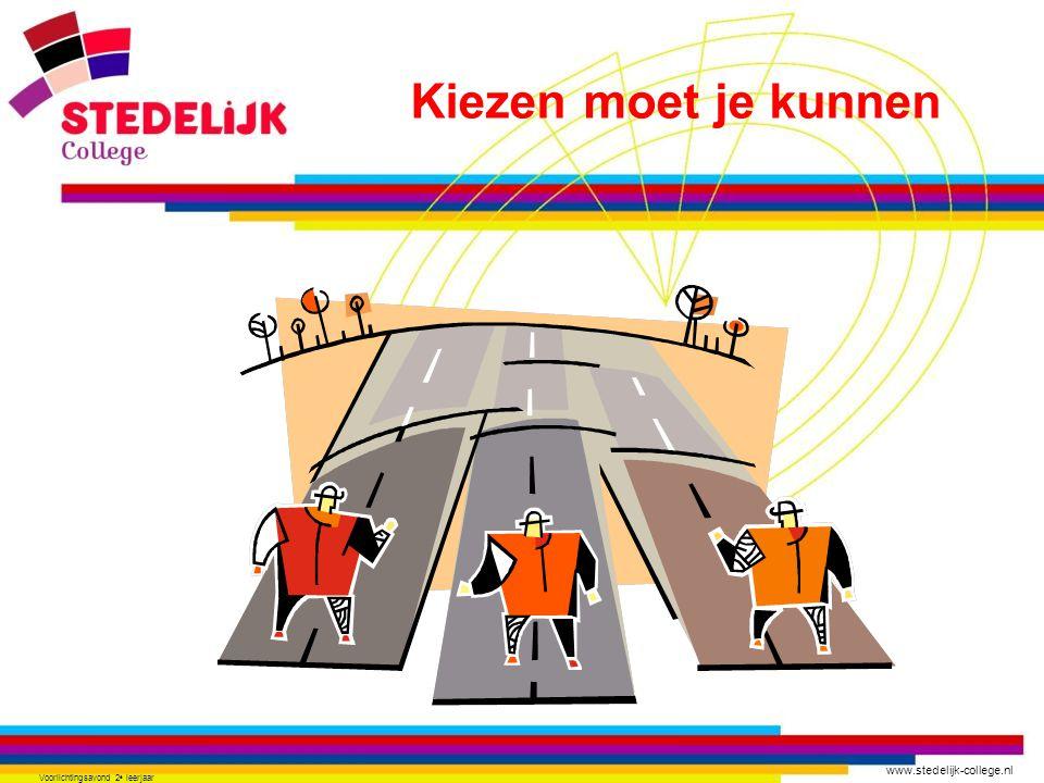 www.stedelijk-college.nl Voorlichtingsavond 2 e leerjaar VMBO afmaken Vervolgopleiding kiezen Startkwalificatie behalen • Wat wil ik • Wat kan ik • Welke mogelijkheden zijn er Vooruit denken…………………… is moeilijk .