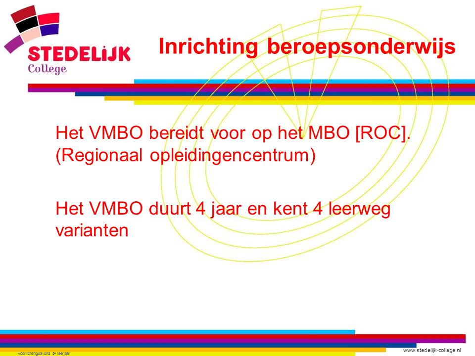 www.stedelijk-college.nl Voorlichtingsavond 2 e leerjaar Het VMBO bereidt voor op het MBO [ROC]. (Regionaal opleidingencentrum) Het VMBO duurt 4 jaar