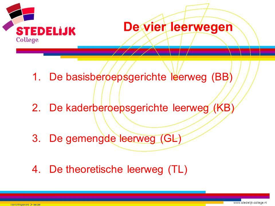 www.stedelijk-college.nl Voorlichtingsavond 2 e leerjaar •Praktisch •Minder zwaar •16 lesuur algemene vakken •10-12 lesuur beroepsgerichte vakken waaronder stage.