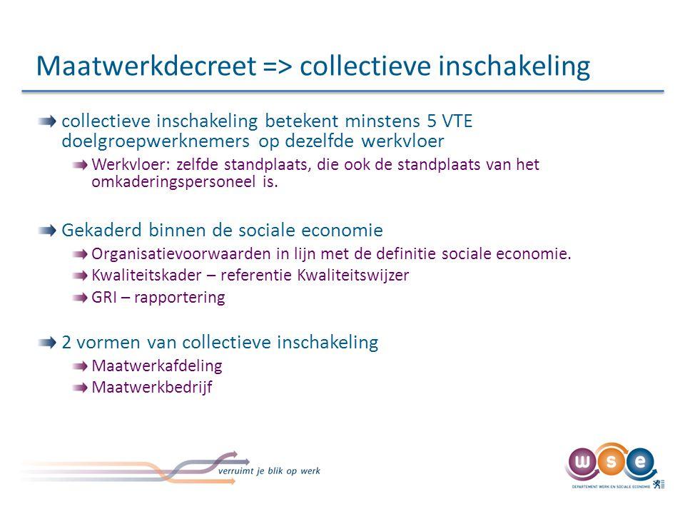 Maatwerkdecreet => collectieve inschakeling collectieve inschakeling betekent minstens 5 VTE doelgroepwerknemers op dezelfde werkvloer Werkvloer: zelfde standplaats, die ook de standplaats van het omkaderingspersoneel is.
