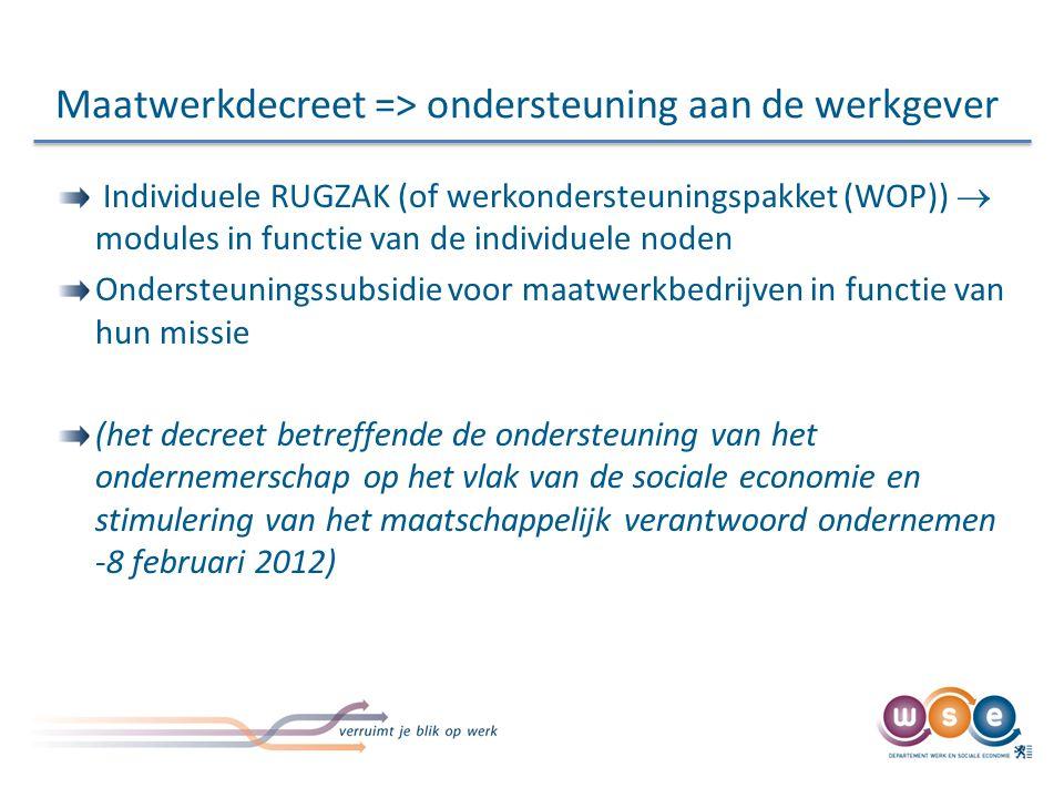 Maatwerkdecreet => ondersteuning aan de werkgever Individuele RUGZAK (of werkondersteuningspakket (WOP))  modules in functie van de individuele noden Ondersteuningssubsidie voor maatwerkbedrijven in functie van hun missie (het decreet betreffende de ondersteuning van het ondernemerschap op het vlak van de sociale economie en stimulering van het maatschappelijk verantwoord ondernemen -8 februari 2012)