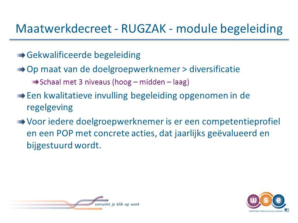 Maatwerkdecreet - RUGZAK - module begeleiding Gekwalificeerde begeleiding Op maat van de doelgroepwerknemer > diversificatie Schaal met 3 niveaus (hoo