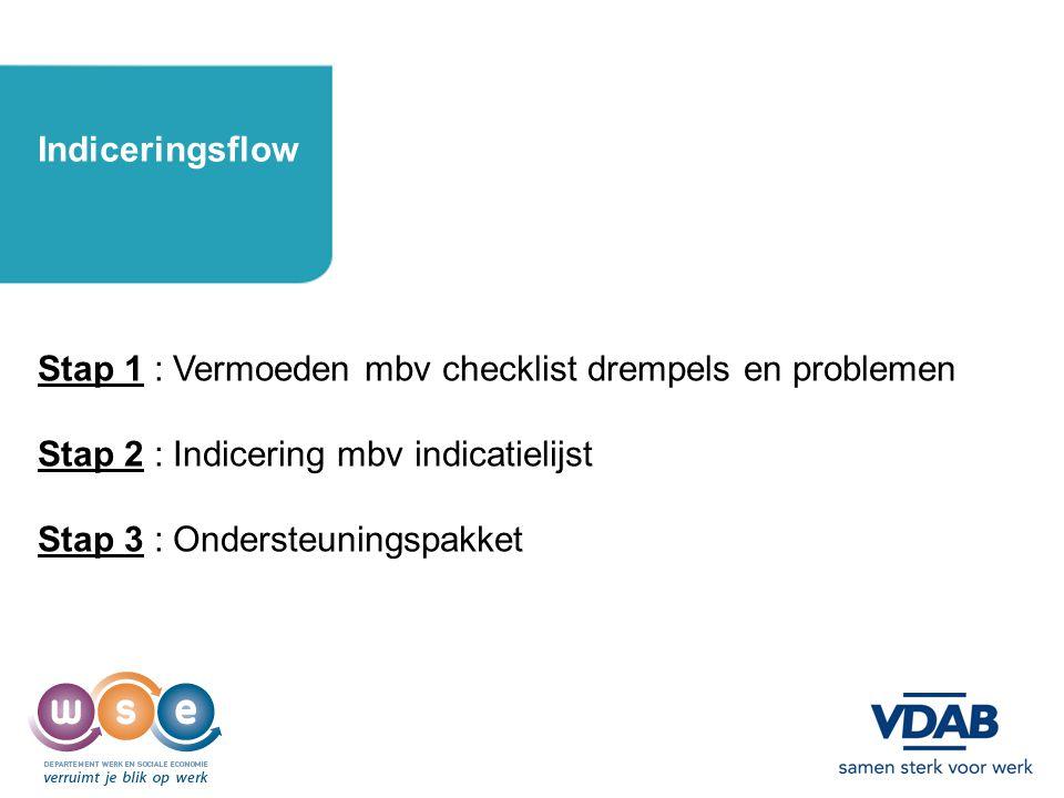 7 Indiceringsflow Stap 1 : Vermoeden mbv checklist drempels en problemen Stap 2 : Indicering mbv indicatielijst Stap 3 : Ondersteuningspakket