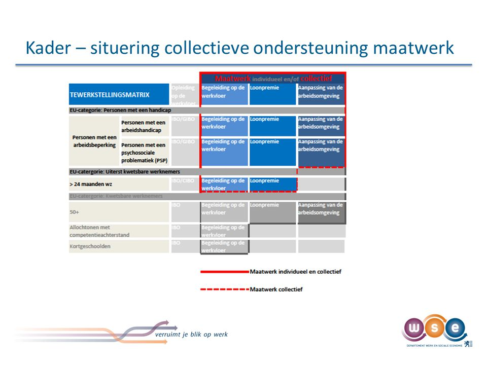 Kader – situering collectieve ondersteuning maatwerk