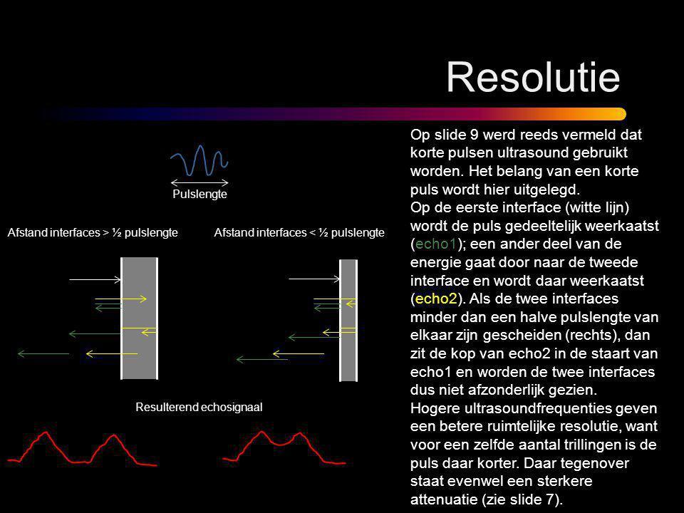 Resolutie Op slide 9 werd reeds vermeld dat korte pulsen ultrasound gebruikt worden. Het belang van een korte puls wordt hier uitgelegd. Op de eerste