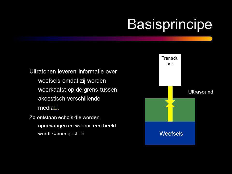 Basisprincipe Ultratonen leveren informatie over weefsels omdat zij worden weerkaatst op de grens tussen akoestisch verschillende media . Zo ontstaan