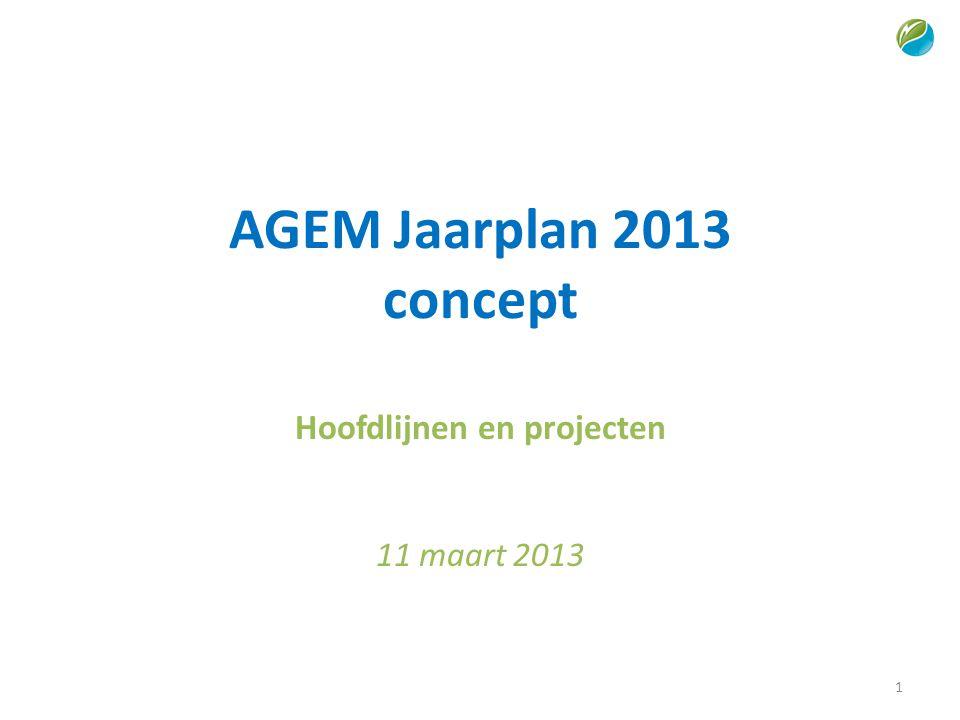 AGEM Jaarplan 2013 concept Hoofdlijnen en projecten 11 maart 2013 1