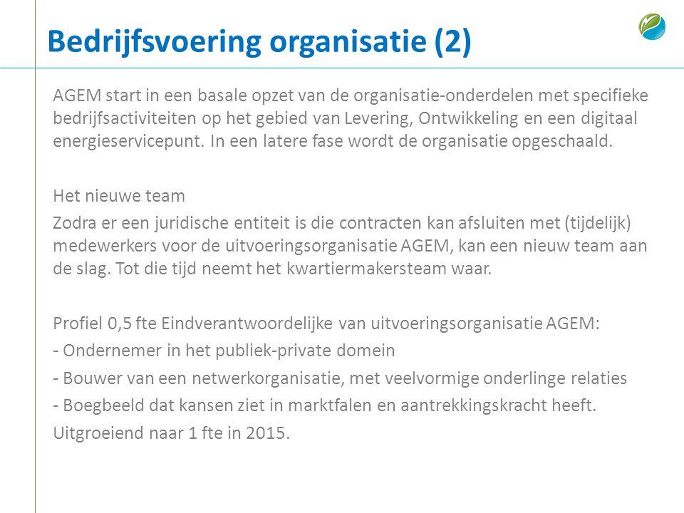 Bedrijfsvoering organisatie (2) AGEM start in een basale opzet van de organisatie-onderdelen met specifieke bedrijfsactiviteiten op het gebied van Lev