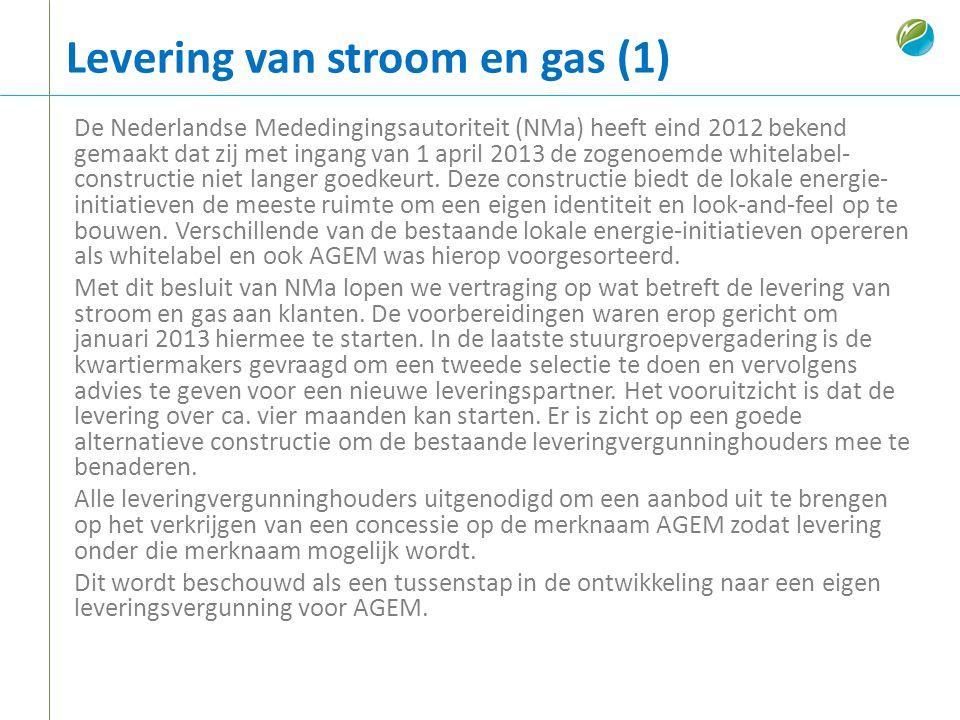 Levering van stroom en gas (1) De Nederlandse Mededingingsautoriteit (NMa) heeft eind 2012 bekend gemaakt dat zij met ingang van 1 april 2013 de zogen