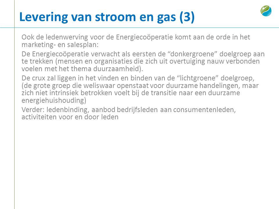 Levering van stroom en gas (3) Ook de ledenwerving voor de Energiecoöperatie komt aan de orde in het marketing- en salesplan: De Energiecoöperatie ver