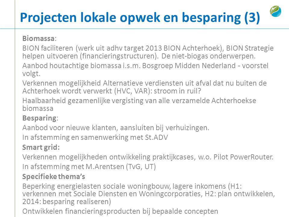 Projecten lokale opwek en besparing (3) Biomassa: BION faciliteren (werk uit adhv target 2013 BION Achterhoek), BION Strategie helpen uitvoeren (finan