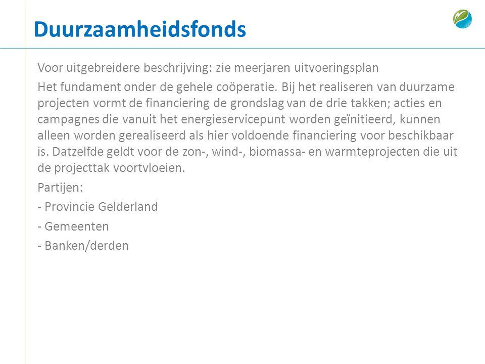 Duurzaamheidsfonds Voor uitgebreidere beschrijving: zie meerjaren uitvoeringsplan Het fundament onder de gehele coöperatie. Bij het realiseren van duu