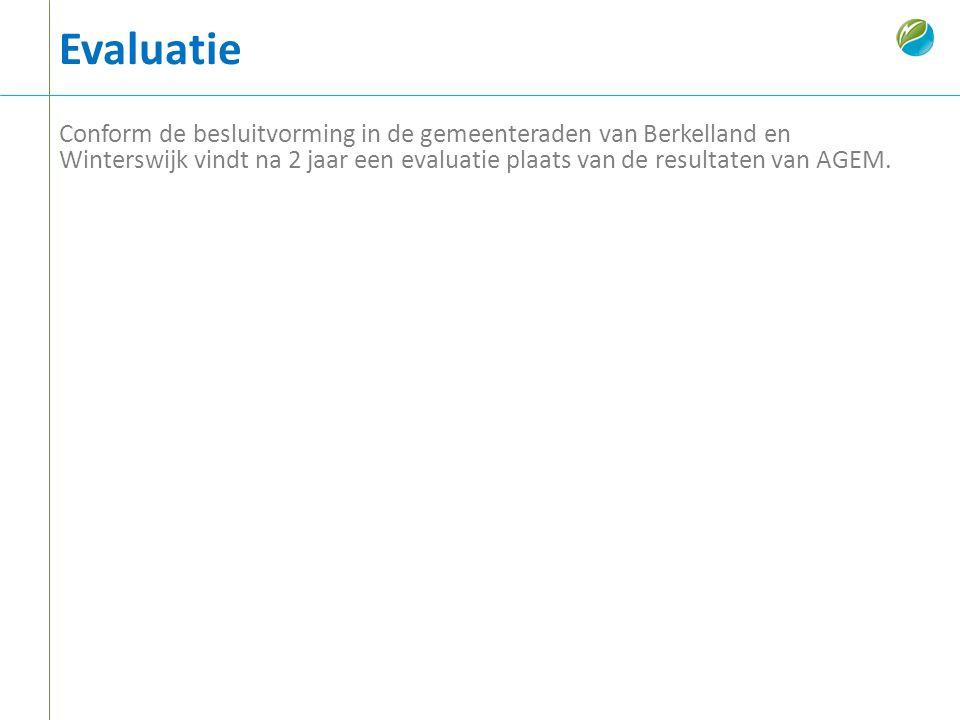 Evaluatie Conform de besluitvorming in de gemeenteraden van Berkelland en Winterswijk vindt na 2 jaar een evaluatie plaats van de resultaten van AGEM.