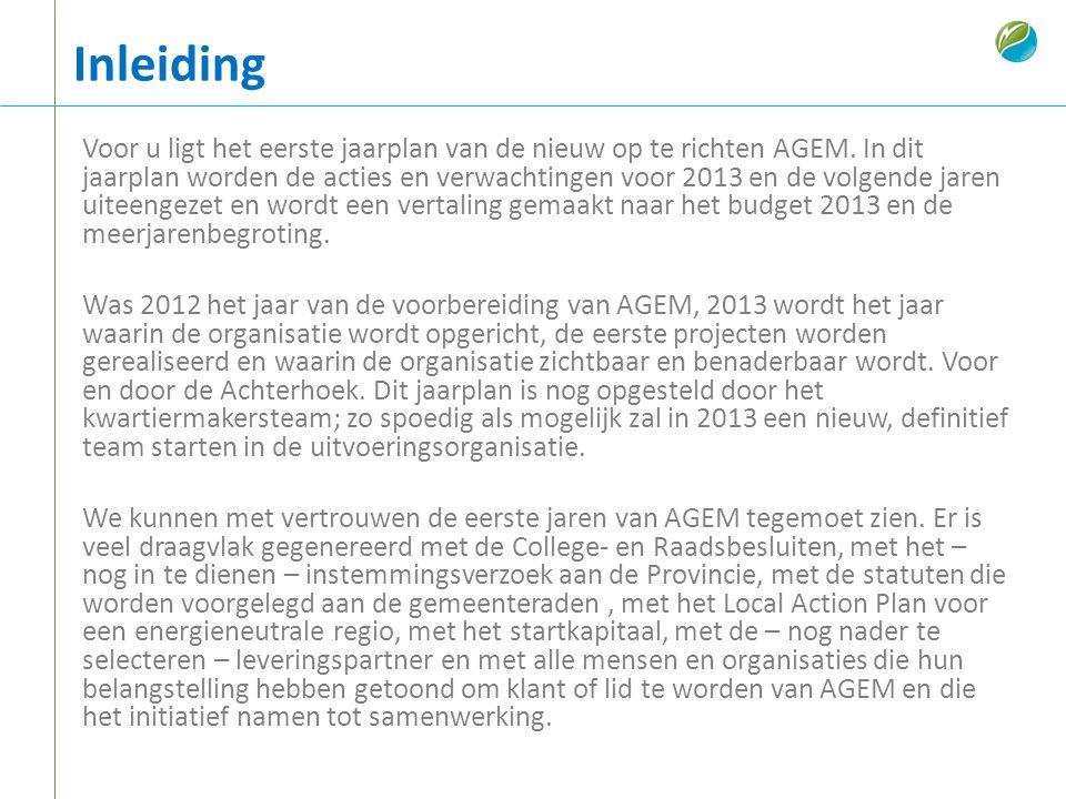 Inleiding Voor u ligt het eerste jaarplan van de nieuw op te richten AGEM. In dit jaarplan worden de acties en verwachtingen voor 2013 en de volgende