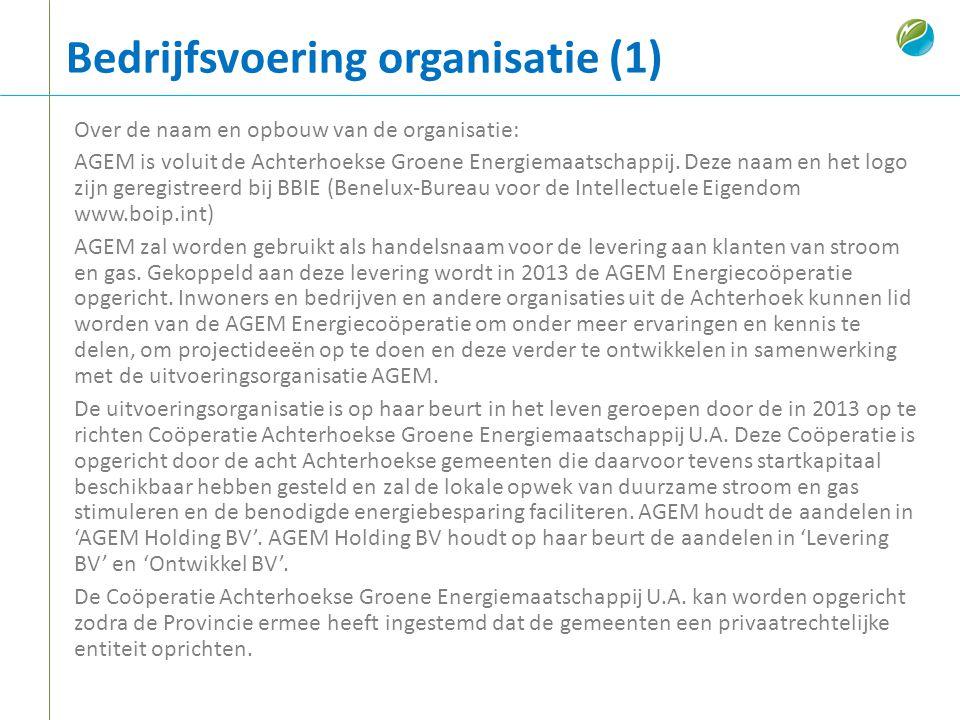 Bedrijfsvoering organisatie (1) Over de naam en opbouw van de organisatie: AGEM is voluit de Achterhoekse Groene Energiemaatschappij. Deze naam en het