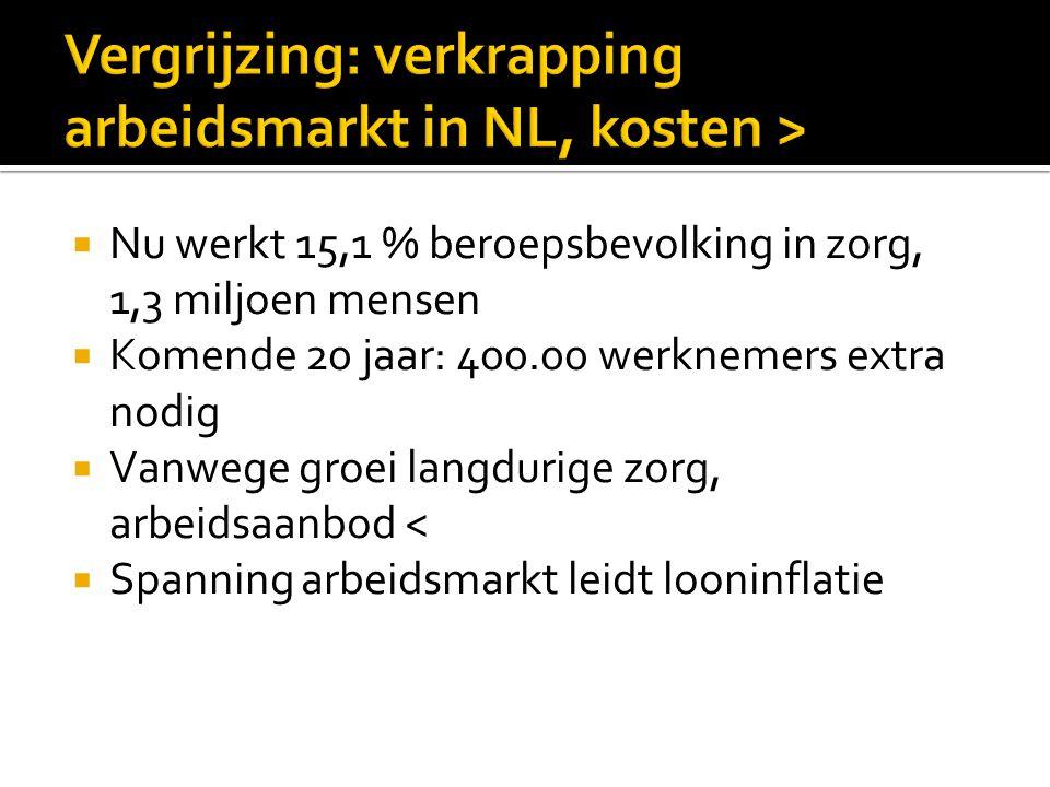  Private bijdrage in vorm eigen bijdrage, eigen risico en aanvullende zorgverzekeringen zijn in NL lager dan rest  Om langdurige zorg betaalbaar te houden kan NL leren van DTSL