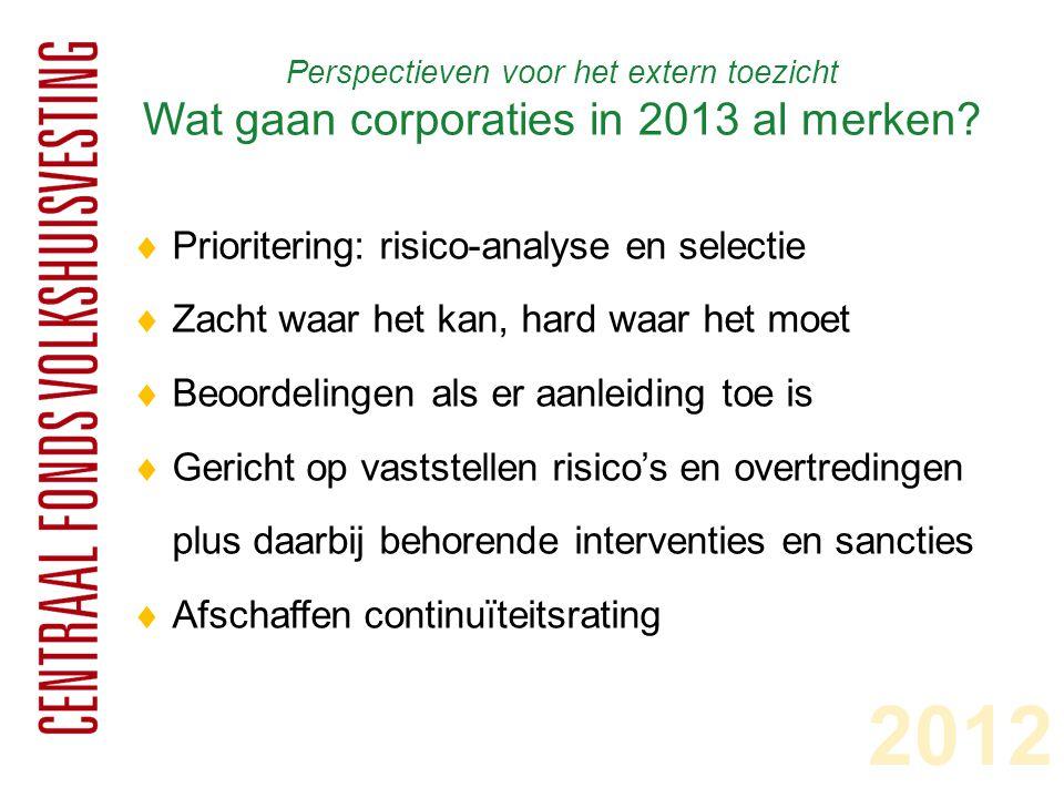 Perspectieven voor het extern toezicht Wat gaan corporaties in 2013 al merken?  Prioritering: risico-analyse en selectie  Zacht waar het kan, hard w