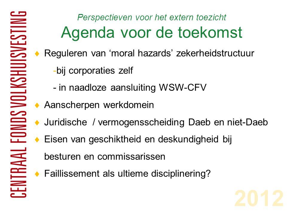 Perspectieven voor het extern toezicht Agenda voor de toekomst  Reguleren van 'moral hazards' zekerheidstructuur -bij corporaties zelf - in naadloze