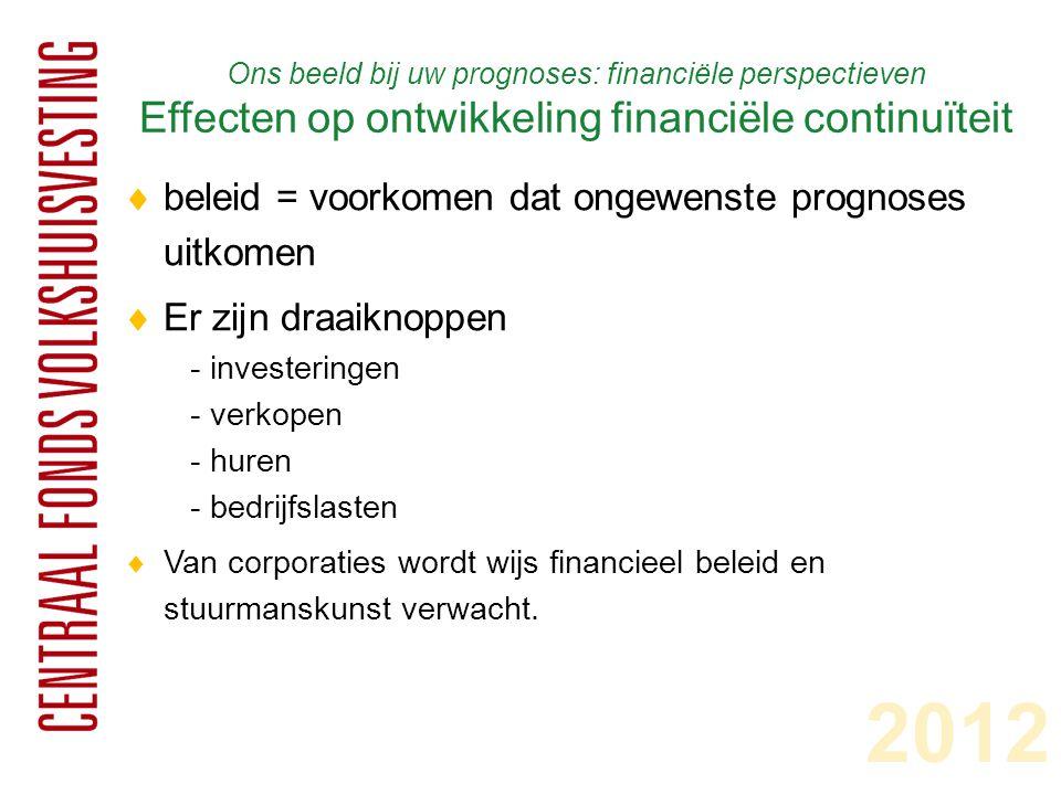 Ons beeld bij uw prognoses: financiële perspectieven Effecten op ontwikkeling financiële continuïteit  beleid = voorkomen dat ongewenste prognoses uitkomen  Er zijn draaiknoppen - investeringen - verkopen - huren - bedrijfslasten  Van corporaties wordt wijs financieel beleid en stuurmanskunst verwacht.